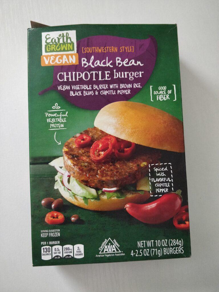 Earth Grown Vegan Black Bean Chipotle Burger